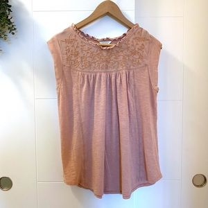 Lucky Brand • Blush Pink Embroidered Peasant Top